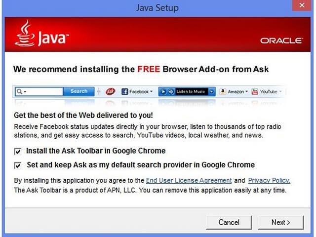 Avoid installing toolbars