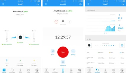 Amplifi App allows configuring guest network, troubleshooting and performance test, and pausing WiFi