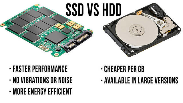 HDD vs SSD - faster performance, no vibratiins or noise, more energy efficient