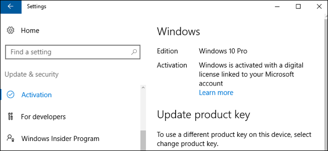 Windows 10 activated with digital license and linked to Microsoft account