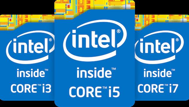 Intel Core i3 i5 and i7 CPU logos